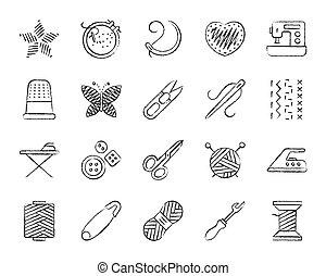 węgiel drzewny, zaciągnąć, komplet, ikony, robótki, wektor, kreska