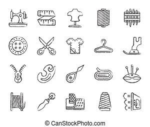 węgiel drzewny, zaciągnąć, komplet, ikony, szycie, wektor, kreska