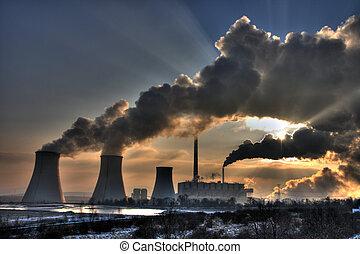 węgiel, powerplant, -, kominy, dymi się, prospekt