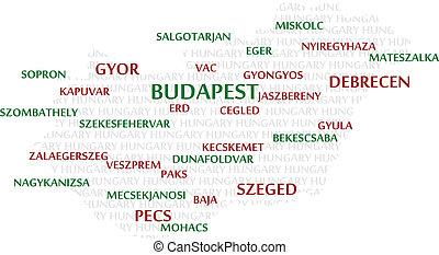 węgry, słowo, chmura, mapa