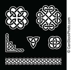 węzły, wzory, celtycki, b, biały