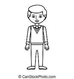 węzeł człowiek, formalny, sylwetka, garnitur