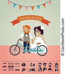 własny, zaproszenie, -, hipster, ślub, projektować, twój, karta