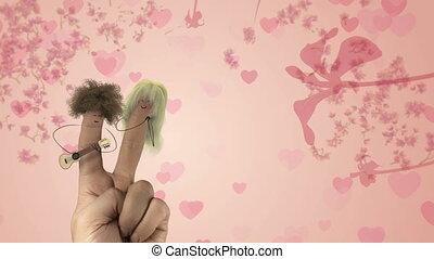 włochaty, włosy, palec, człowiek, śpiewać, miłość, song., valentines dzień, joke.