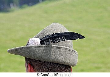 włochy, parada, klasyk, veneto, pióro, czarnoskóry, soldier's, podczas, militarny kapelusz, alpejski