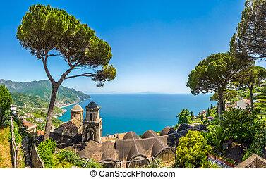 włochy, willa, zatoka, sceniczny, campania, rufolo, amalfi, ravello, brzeg, sławny, picture-postcard, salerno, ogrody, prospekt