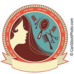 włosiany salon, tło, z, kobieta twarz