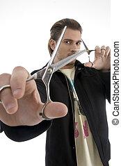 włosiany stylista, dzierżawa, niejaki, para nożyc