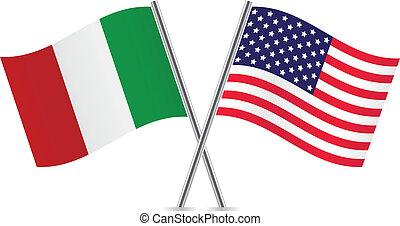 włoski, amerykanka, flags.