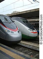 włoski, ekspres, dwa, pociągi