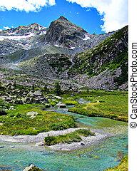 włoskie alpy, -, lodowcowy, potok, woda