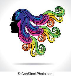 włosy, abstrakcyjny, fason, dziewczyna, barwny