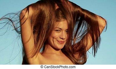 włosy, brązowy, dziewczyna, ładny, długi