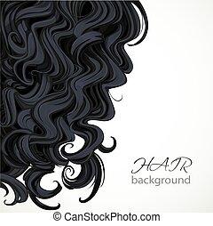 włosy, brunatne tło, kędzierzawy