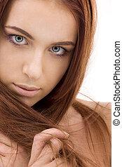 włosy, czerwony