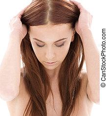 włosy, długi, piękno