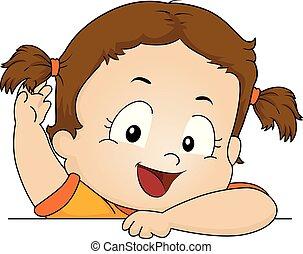 włosy, dziewczyna, berbeć, styl, ilustracja