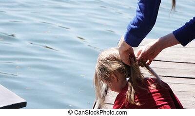 włosy, dziewczyna, galony, macierz natura