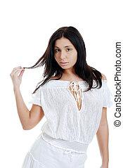 włosy, hispanic kobieta, interpretacja