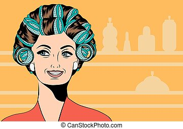 włosy, ich, kobieta, curlers