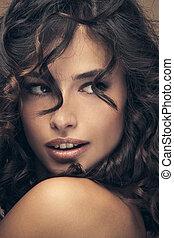włosy, kędzierzawy, piękno