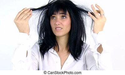 włosy, kobieta, brudny, smutny