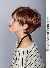 włosy, kobieta, czerwony, krótki