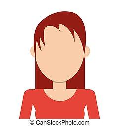 włosy, kobieta, czerwony
