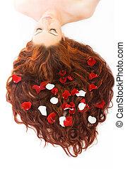 włosy, kobieta, długi, czerwony