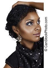 włosy, kobieta, kędzierzawy, afrykanin