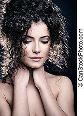 włosy, kobieta, kędzierzawy