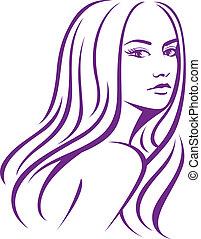 włosy, kobieta, samica, długi