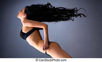 włosy, kobieta, trzepotliwy, młody