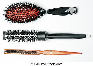 włosy, nowy, szczegół, szczotka