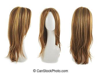 włosy, peruka, na, przedimek określony przed rzeczownikami,...