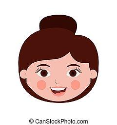 włosy, skupiony, kobieta, przód, twarz