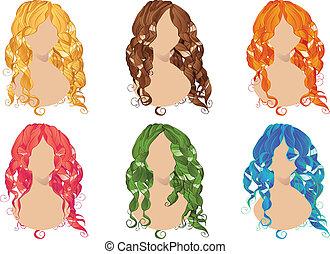włosy, style, kędzierzawy