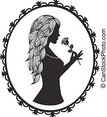 włosy, sylwetka, długi