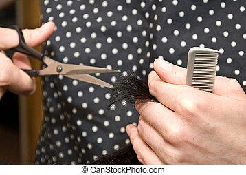 włosy, szczelnie-do góry, cięcie