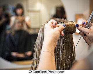 włosy, szczelnie-do góry, troska
