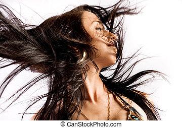 włosy, trzepnąć