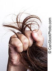 włosy, uszkodzony, kobieta, ręka