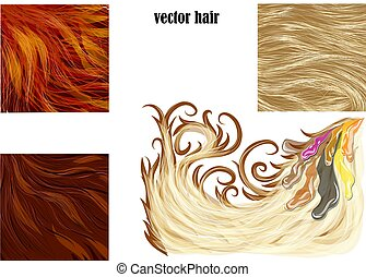 włosy, wektor, komplet