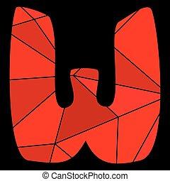 W, alfabeto, aislado,  vector, negro, Plano de fondo, carta, rojo