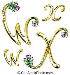 w, alfabeto, cartas, joyas, oro