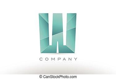 w alphabet letter green logo icon design