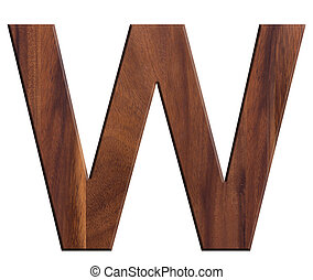 W, alphabet letters wooden on white background.
