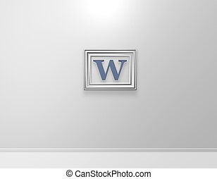 picture frame with letter w on white wall - 3d illustration