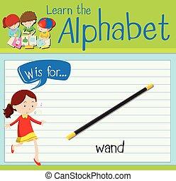 w, batuta, letra, flashcard