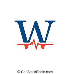 w, cardiogramme, vecteur, logo, initiale, lettre